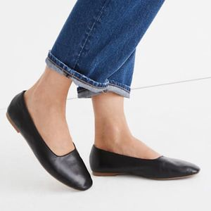Madewell The Cory Flat In Black Leather Size 7